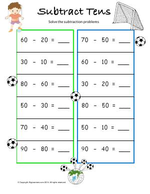 Preview image for worksheet with title Subtract Tens
