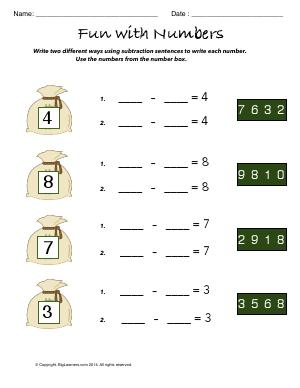 Preview image for worksheet with title Fun With Numbers