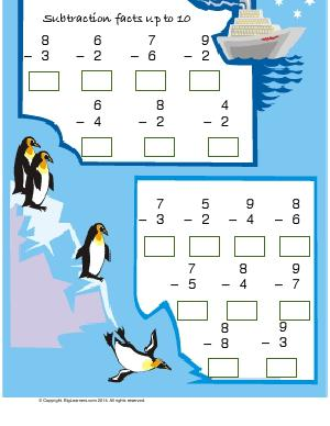 Preview image for worksheet with title Subtraction Facts up to 10