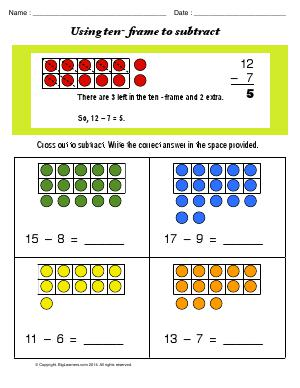 Preview image for worksheet with title Using Ten Frame to Subtract