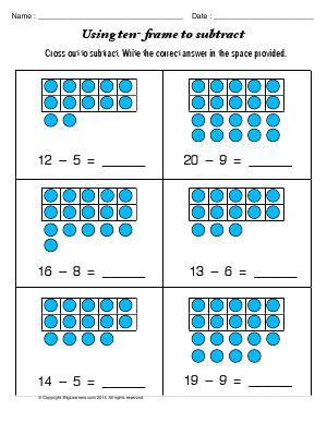 Worksheets 1st Grade Common Core Math Worksheets grade 1 free common core math worksheets biglearners preview image for worksheet with title using ten frame to subtract