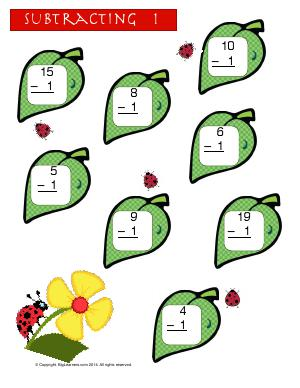 Preview image for worksheet with title Subtracting 1 ( Ladybug Theme )