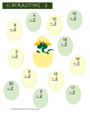 Preview image for worksheet with title Subtracting 2  ( Dino Theme )