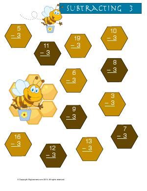 Preview image for worksheet with title Subtracting 3 ( Buzzy Bee Theme )