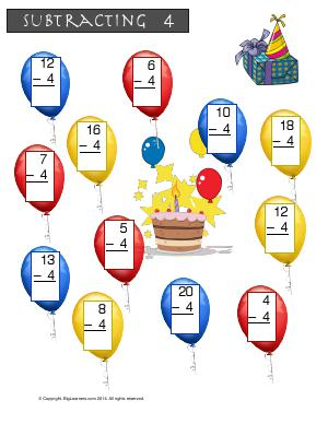 Preview image for worksheet with title Subtracting 4 ( Birthday Party Theme )