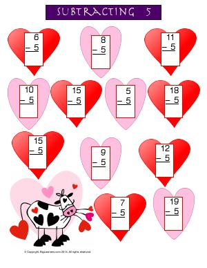 Preview image for worksheet with title Subtracting 5 ( Valentine Theme )