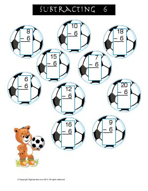 Preview image for worksheet with title Subtracting 6 ( Soccer Theme )