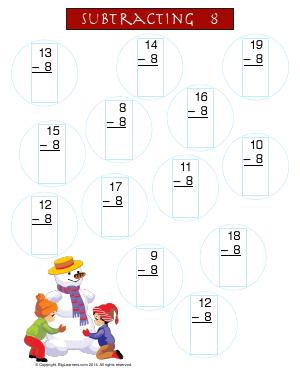 Preview image for worksheet with title Subtracting 8 ( Snowman Theme )