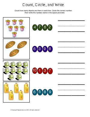 Preview image for worksheet with title Count, Circle, and Write