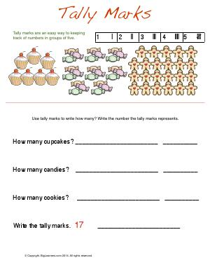 Preview image for worksheet with title Tally Marks