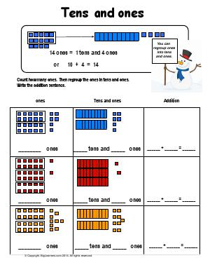 regrouping tens and ones first grade math worksheets biglearners. Black Bedroom Furniture Sets. Home Design Ideas