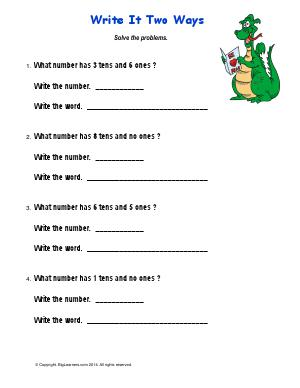 Preview image for worksheet with title Write it Two Ways