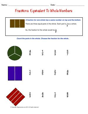 Preview image for worksheet with title Fractions Equivalent to Whole Numbers
