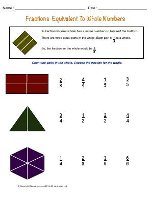 Preview image for worksheet with title Fractions Equivalent to the Numbers
