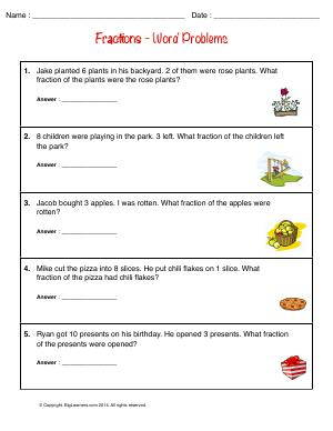 Preview image for worksheet with title Fractions - Word Problems