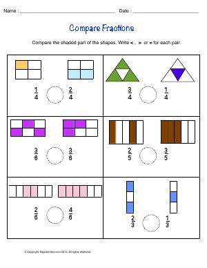Preview image for worksheet with title Compare Fractions