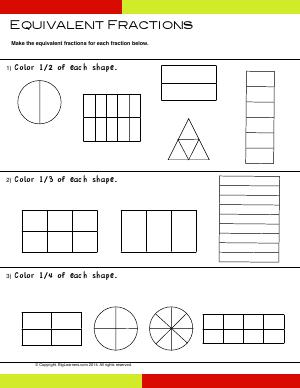 Preview image for worksheet with title Equivalent Fractions