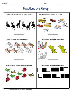 Preview image for worksheet with title Fractions of a Group