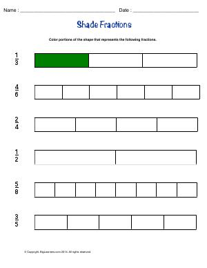 Preview image for worksheet with title Shade Fractions