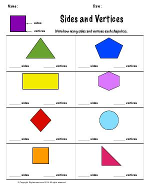 Preview image for worksheet with title Sides and Vertices