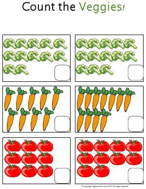 Preview image for worksheet with title Count the Veggies!