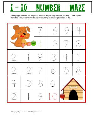 Preview image for worksheet with title 1 - 10 Number Maze