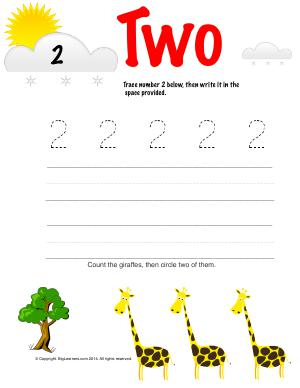 Preview image for worksheet with title Number Two