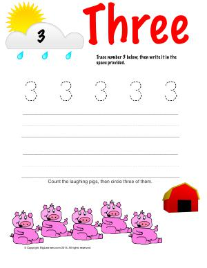 Preview image for worksheet with title Number Three