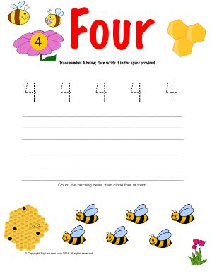 Preview image for worksheet with title Number Four