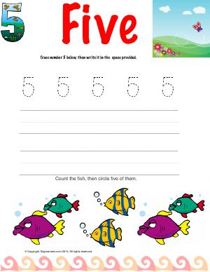 Preview image for worksheet with title Number Five