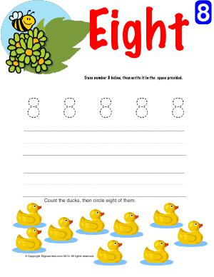 Preview image for worksheet with title Number Eight