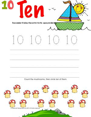 Preview image for worksheet with title Number Ten