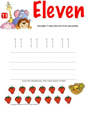 Preview image for worksheet with title Number Eleven