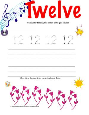 Preview image for worksheet with title Number Twelve
