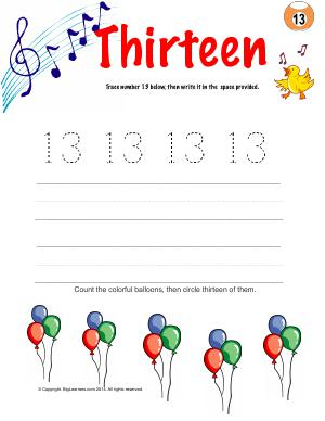 Preview image for worksheet with title Number Thirteen