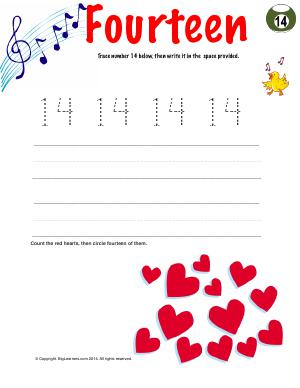 Preview image for worksheet with title Number Fourteen