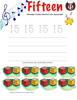 Preview image for worksheet with title Number Fifteen