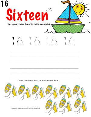 Preview image for worksheet with title Number Sixteen