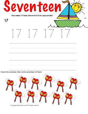Preview image for worksheet with title Number Seventeen