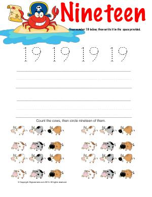 Preview image for worksheet with title Number Nineteen