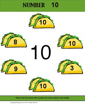 Preview image for worksheet with title Number 10