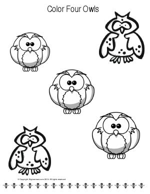 Preview image for worksheet with title Color Four Owls
