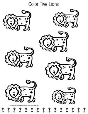 Preview image for worksheet with title Color Five Lions