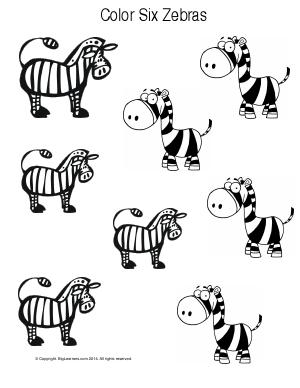 Preview image for worksheet with title Color Six Zebras