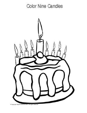 Preview image for worksheet with title Color Nine Candles