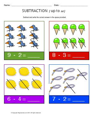 Preview image for worksheet with title Subtraction ( Up to 10 )