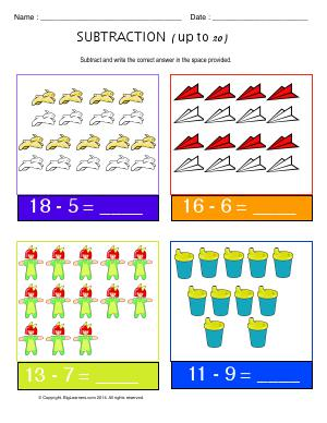 Preview image for worksheet with title Subtraction ( Up to 20 )