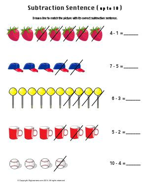 Preview image for worksheet with title Subtraction Sentence ( Up to 10 )