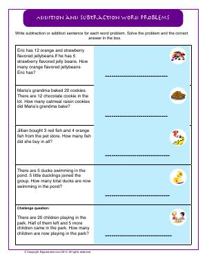Preview image for worksheet with title Addition and Subtraction Word Problems