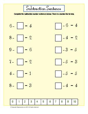 Preview image for worksheet with title Subtraction Sentence